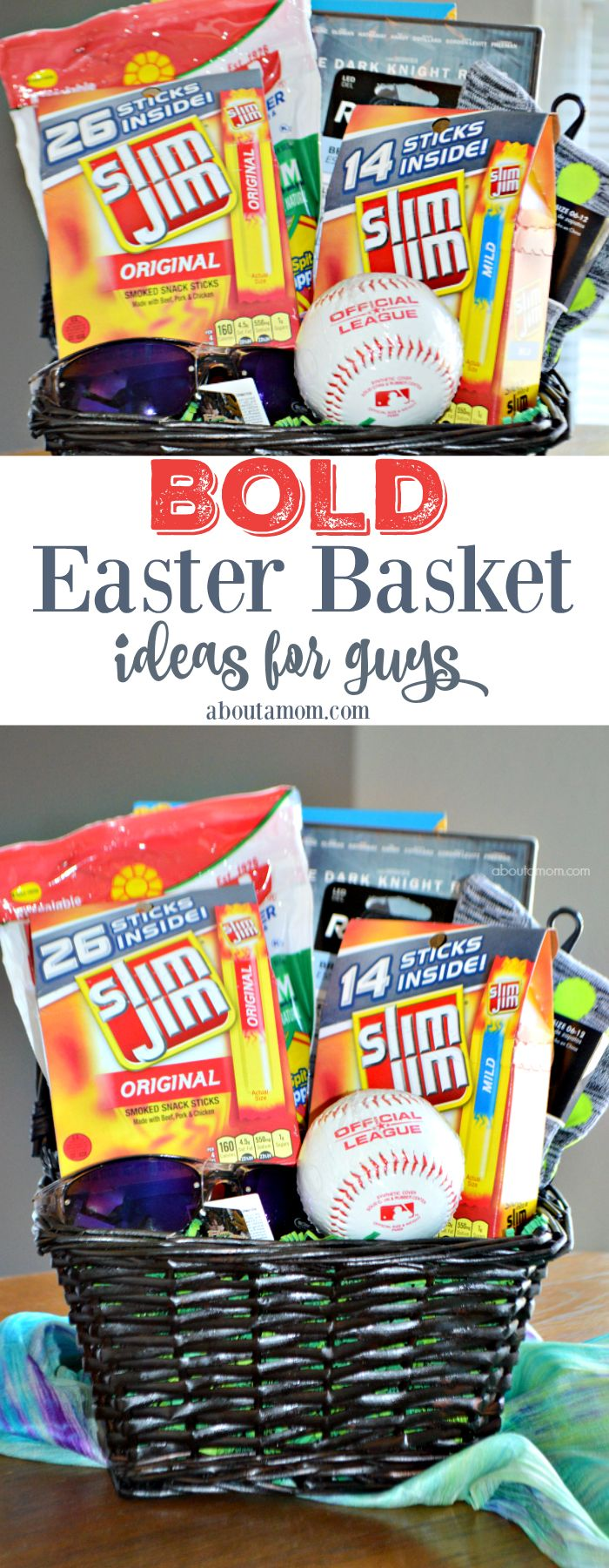 A helpful list of Easter basket ideas for guys. Treat the special man or teen boy in your life this Easter! (Sponsored) SlimJimBoldBaskets