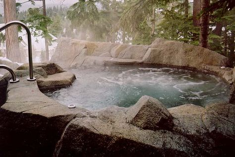 Stone hot tub - natural, blending in with the scenery