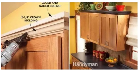 Create shelving at the top of kitchen cabinets