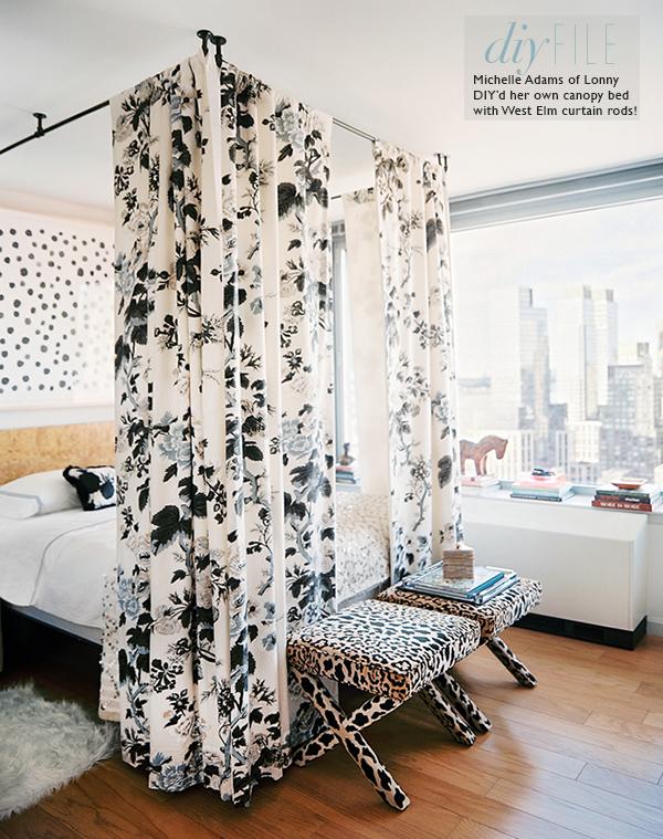 lonny magazine canopy bed curtain rod ceiling