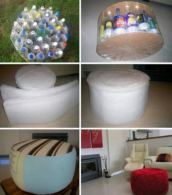 Fabulous Ottoman Made With Plastic Bottles