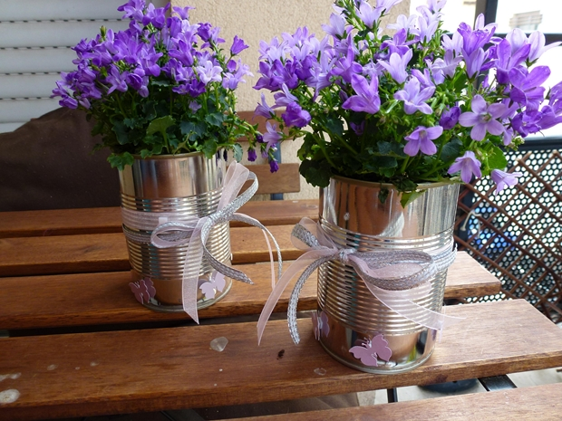 Use Old Tin Cans To Decorate Your Garden With Flowers