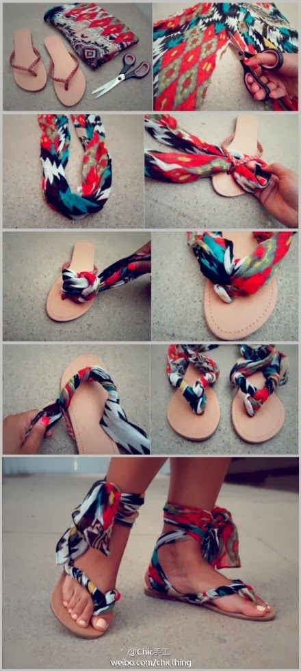 Make Wonderful Summer Shoes Using Your Scarves