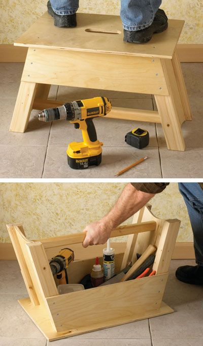 A multi purpose diy product transforming into tool tote and stool